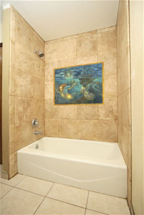 mermaid tile bathroom mermaid tile mural in shower contemporary bathroom