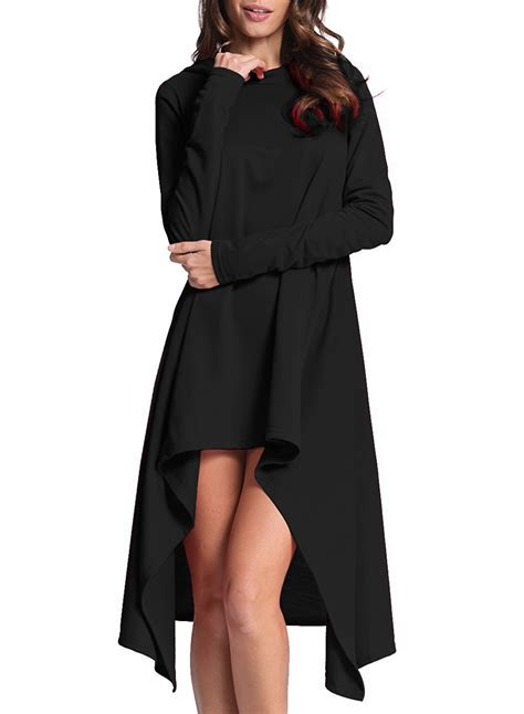 Sleeve Hooded Dress sleeve hooded high low dress oasap