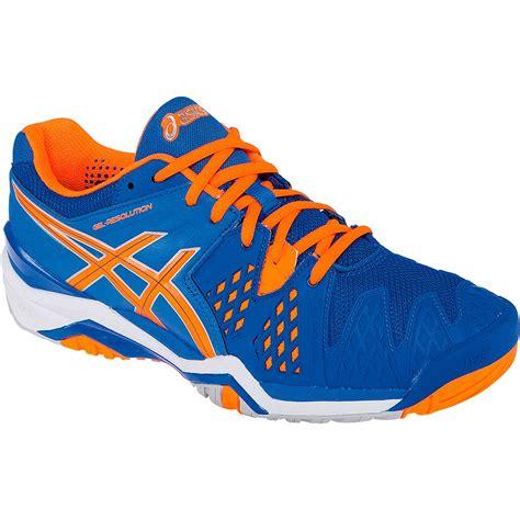 asics resolution 6 s tennis shoe blue orange
