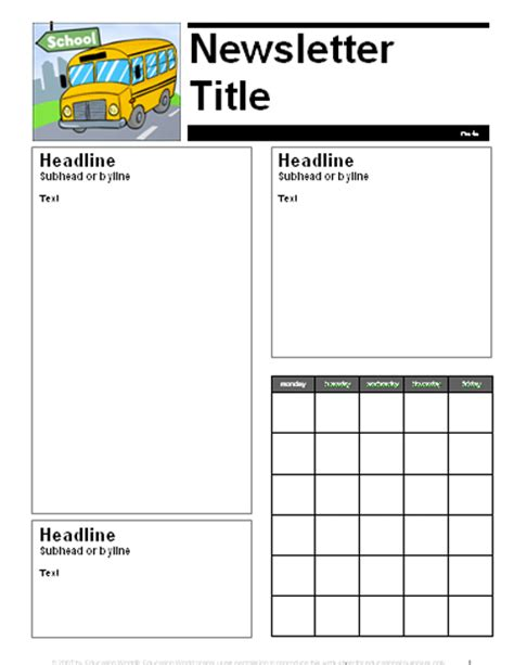 education world newsletter templates newsletter templates for teachers