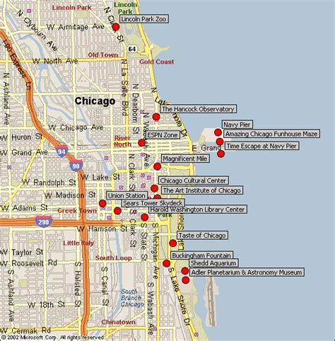 chicago map things to do in chicago map