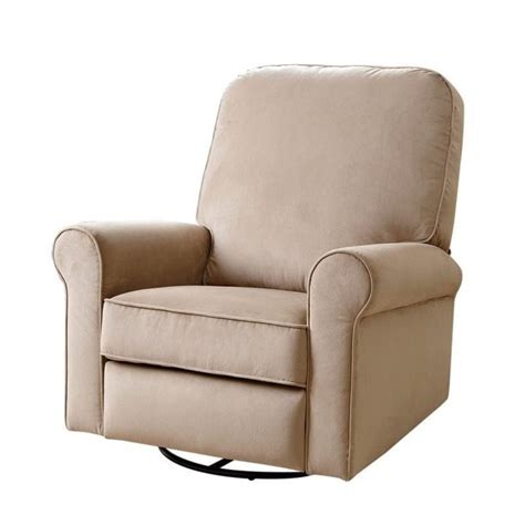 beige recliner bowery hill fabric swivel glider recliner chair in beige