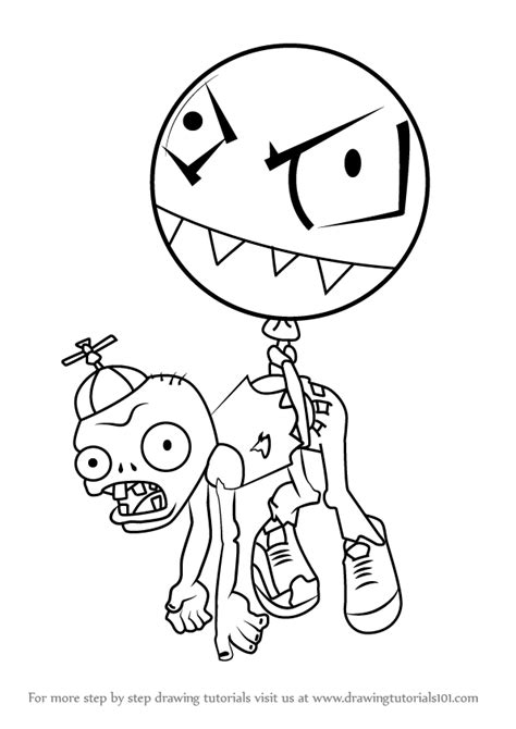 Learn how to draw balloon zombie from plants vs zombies plants vs zombies step by step