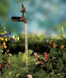 solar lighted water faucet stake statue lawn yard