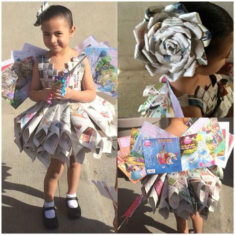 fotos de disfraces de reciclaje para nios hada de los libros atuendo hecho de peri 243 dico vestidos