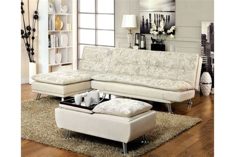 White Futon With Arms Bosco Plush Biscuit Tufted Printed Fabric Futon With Adjustable Arms In White