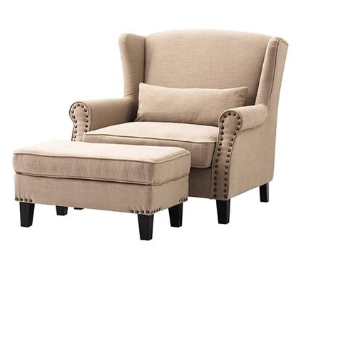 home decorators collection zoey dark beige linen arm chair  ottoman   home depot