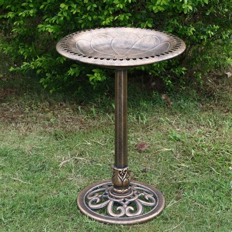 outdoor pedestal bird bath vintage garden backyard