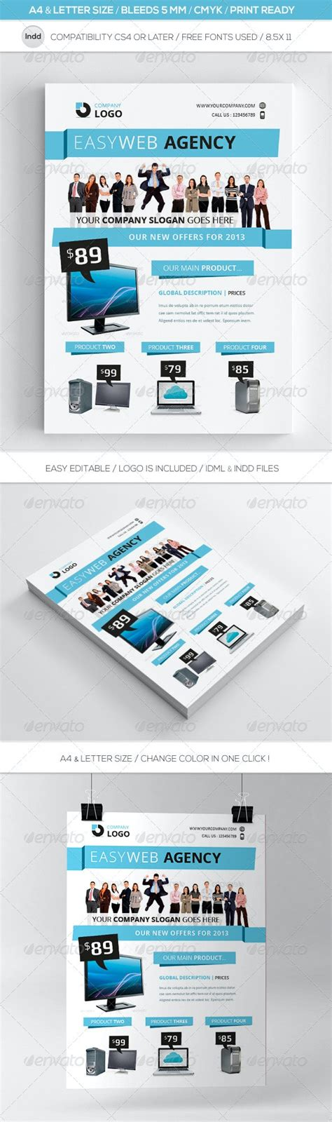 clean indesign commerce flyer template letter