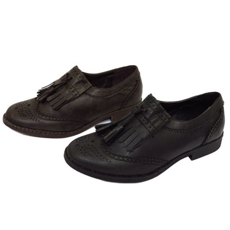 womens flat oxford shoes womens black or brown flat tassle oxford brogue retro