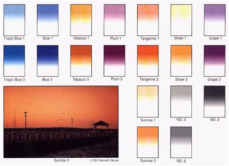 Tiffen 52mm 62mm Step Up Ring tiffen gradual filter color chart