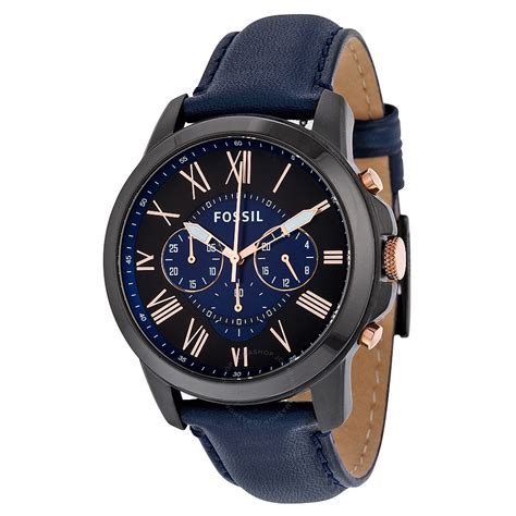 fossil grant chronograph black and blue s quartz