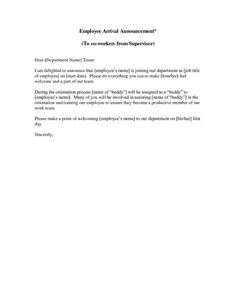 Introduction Letter To Employer new employee announcement letter this sle new