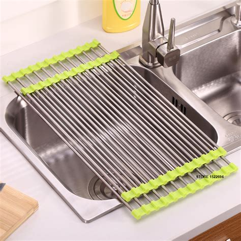 Kitchen Sink With Drying Rack Aliexpress Buy 3 Colors Kitchen Roll Up Dish Drying Rack The Sink Stainless Steel