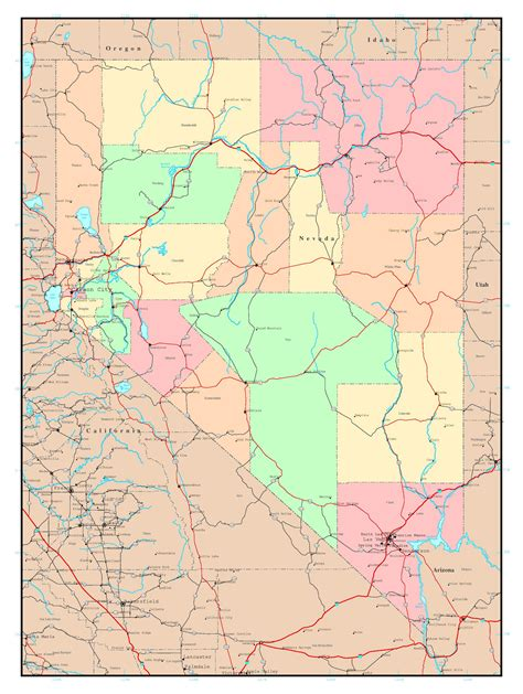 detailed map of nevada usa large detailed administrative map of nevada state with