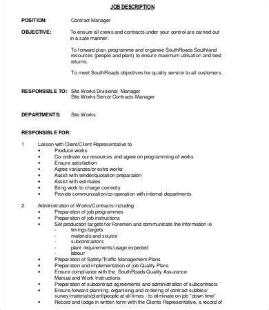 Contract Administration Description by 10 Manager Description Templates Pdf Doc Free Premium Templates