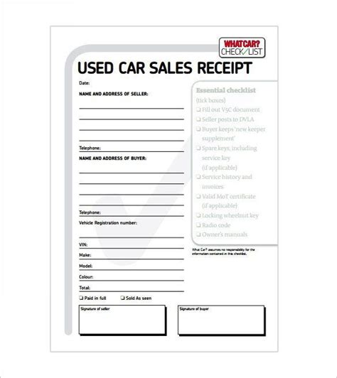 Car Sales Receipt Template Microsoft Word by Car Sale Receipt Receipt Template Doc For Word