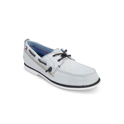 white hilfiger shoes hilfiger leather boat shoe in white for vapour