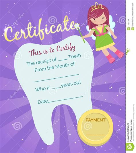 dental gift certificate template tooth receipt certificate template stock vector