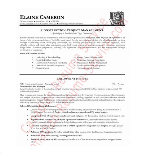 Construction Manager Resume Template by Construction Resume Template 9 Free Word Excel Pdf
