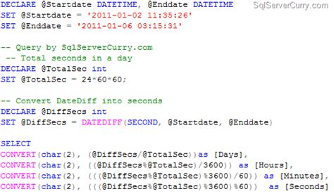 format date query sql date difference in sql server in days hours minutes and