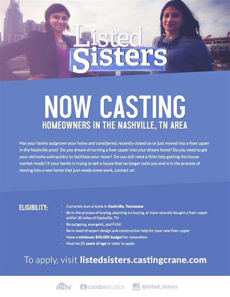 hgtv casting casting call in nashville for hgtv s quot listed sisters