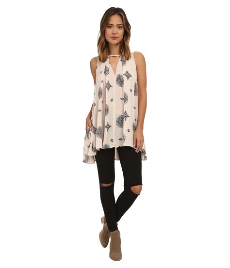 free people swing lyst free people sleeveless tree swing tunic in white