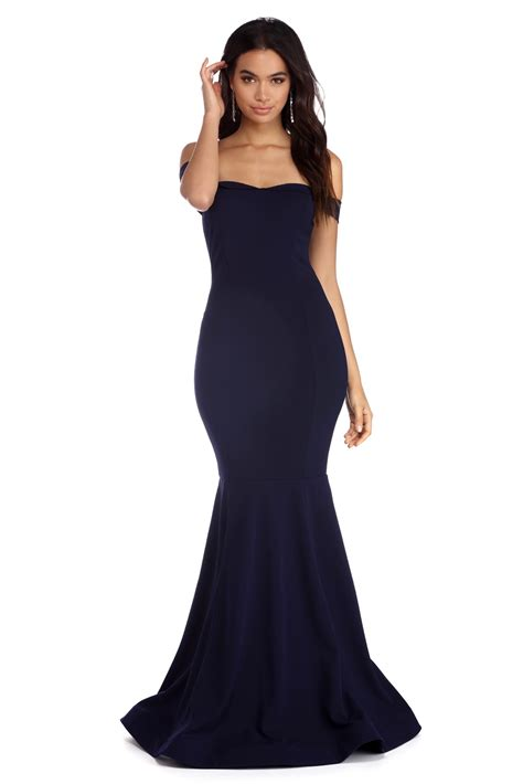 the dress mimi navy off the shoulder mermaid dress