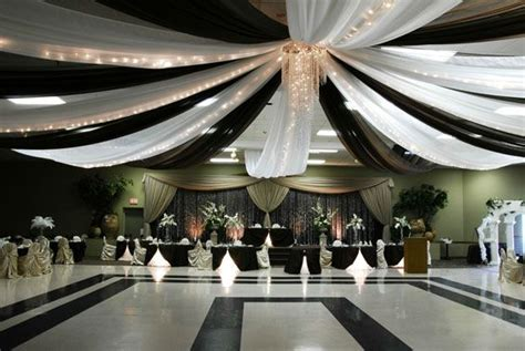 white draping dramatic black and white ceiling draping with lights