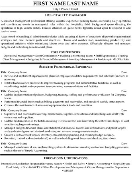hospitality management resume templates hospitality manager resume sle template