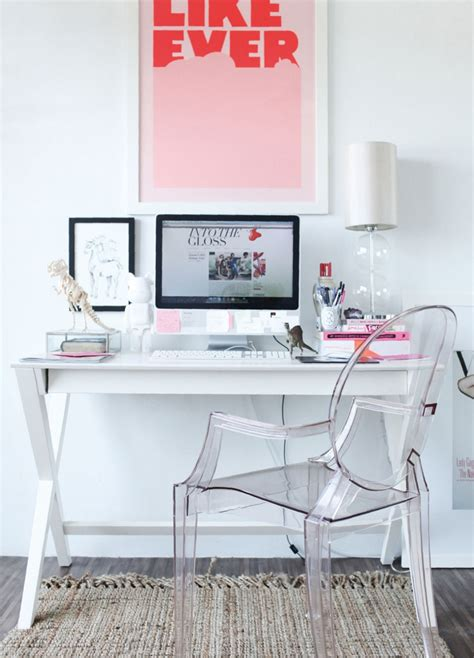 Office Desk Space Stunning Modern White Pink Home Office Space Desk Glass Decosee