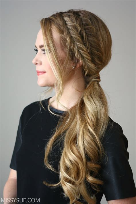 Wedding Hairstyles Side Ponytail Braid by Fishtail Side Pony Sue