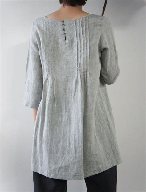 Pastel Tunic Blouse Fenny Tunic linen loom shape 3 4 sleeves asymetrical detailing light gray color