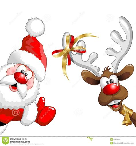 reindeer and santa stock vector illustration of happiness