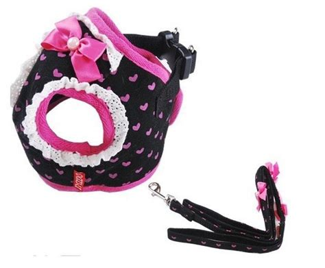xxs puppy harness xxs xl bow tie collar chest straps lace harness leash pet lead free