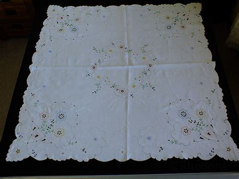 antique linen tablecloth embroidered madeira