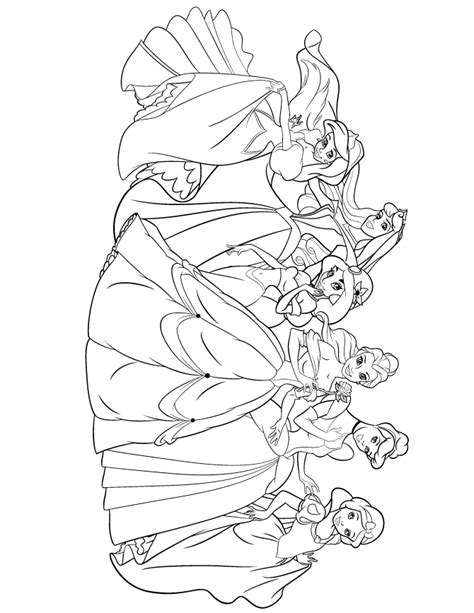 coloring page of all the disney princesses disney princess coloring pages bestofcoloring com