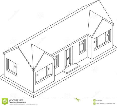 Single Line Floor Plan by 3d Isometric Bungalow Royalty Free Stock Image Image