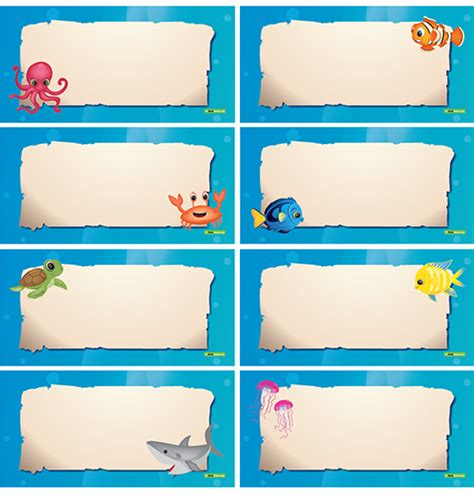 printable under the sea name tags image gallery ocean name tags