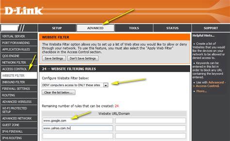 set  website filtering   router  link uk