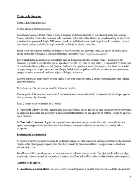 TEORIA DE LA LITERATURA | Crítica literaria | Poesía