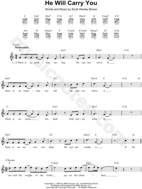 "Scott Wesley Brown ""He Will Carry You"" Sheet Music"