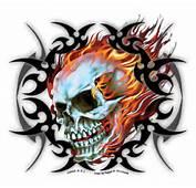 Tribal Flame Biker Skull Sticker  Art USA