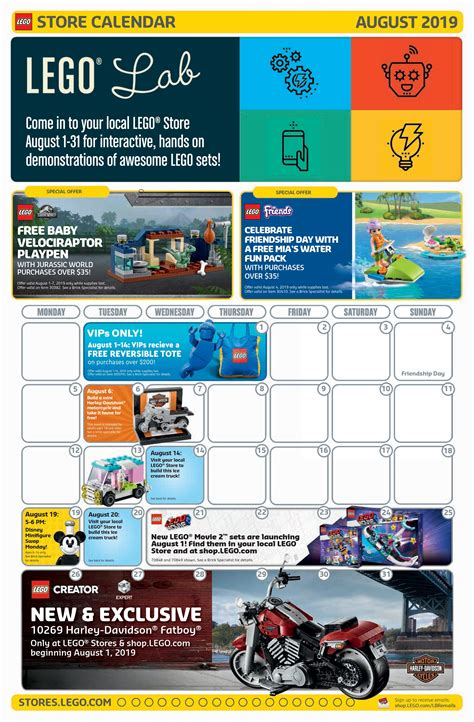 lego august store calendar promotions