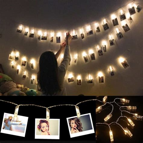 how to hang polaroid lights led photo clip light strings are a alternative to picture frames technabob