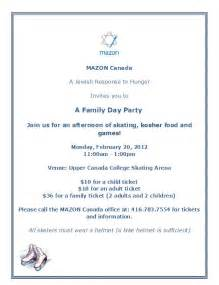 a invitation to family and friend day just b cause