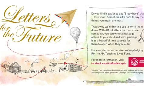 Aia Guarantee Letter Malaysia Aia Gets Parents To Write Letters For The Future Marketing Interactive