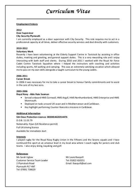 Door Supervisor Sle Resume by Jim Luveniyali Cp Cv