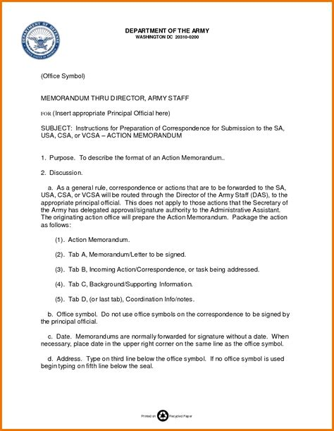 template of memorandum army format choice image cv letter and format sle letter