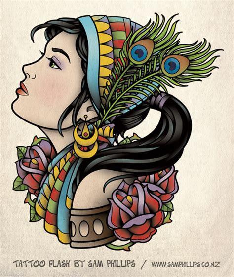 Tattoo Flash Gypsy Head   gypsy tattoo with ponytail by sam phillips nz on deviantart